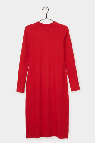 Ladder Rib Long Sleeve Dress, Red, Kowtow