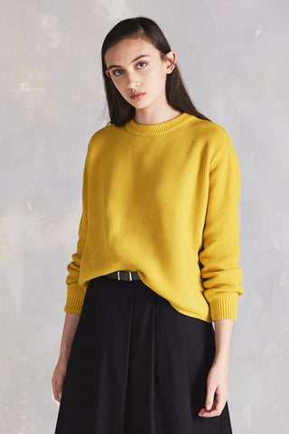 Out Of Sight Sweater in Yellow Organic Cotton Knit, Close Up by Kowtow