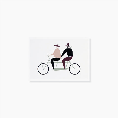 Love Tandem Postcard by Michoucas Design