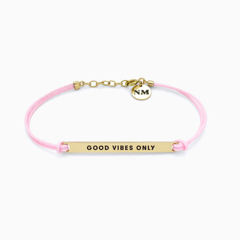 Naomi Murrell : GOOD VIBES ONLY Bracelet with Golden Brass with Pink Cord
