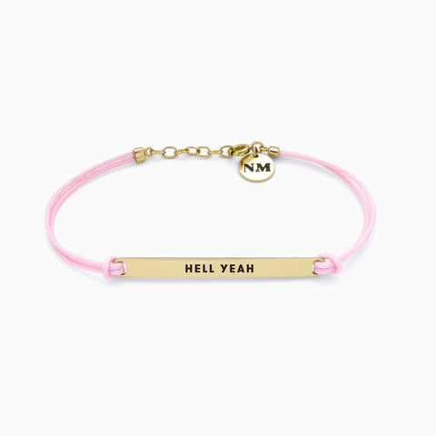 Naomi Murrell : Hell Yeah Bracelet with Golden Brass with Pink Cord