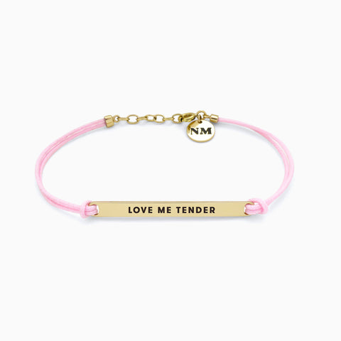 LOVE ME TENDER Bracelet, Powder Pink, Golden Brass
