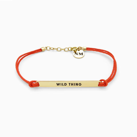 Naomi Murrell : WILD THING BELIEVER Bracelet with Golden Brass with Tangerine Cord