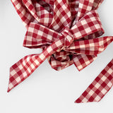 Dreamer Wrap Top, Detail, Red Gingham in Organic Cotton by Naomi Murrell