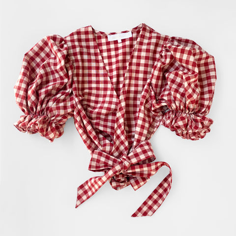 Dreamer Wrap Top, Red Gingham in Organic Cotton by Naomi Murrell