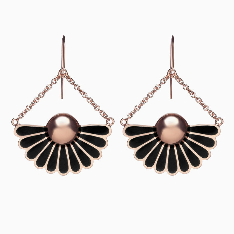 Deco Droplet Earrings in Peppercorn Black by Naomi Murrell