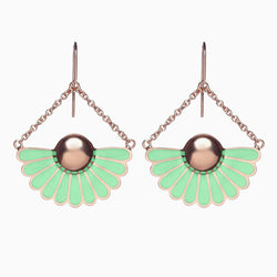Deco Droplet Earrings in Pistachio Green by Naomi Murrell