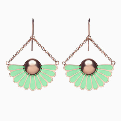 Deco Droplet Earrings in Pistachio by Naomi Murrell
