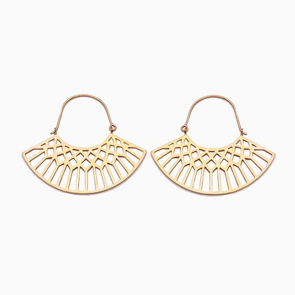 Lattice Hoops in Golden Brass by Naomi Murrell