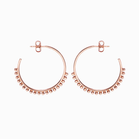 Pom Pom Hoops in Rose Gold Plate by Naomi Murrell