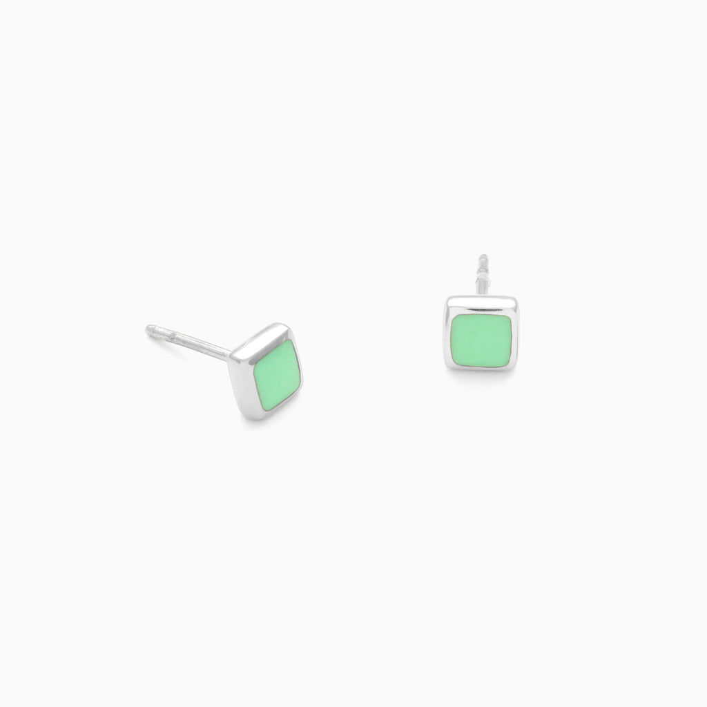 Frame Studs in Sterling Silver and Pistachio by Naomi Murrell