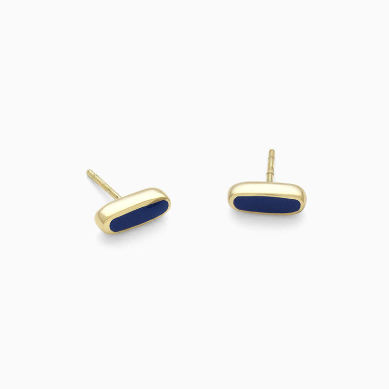 Grain Studs in Golden Brass and Navy by Naomi Murrell