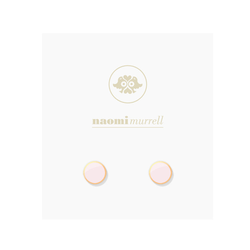 Halo Studs in Golden Brass and Powder Pink by Naomi Murrell