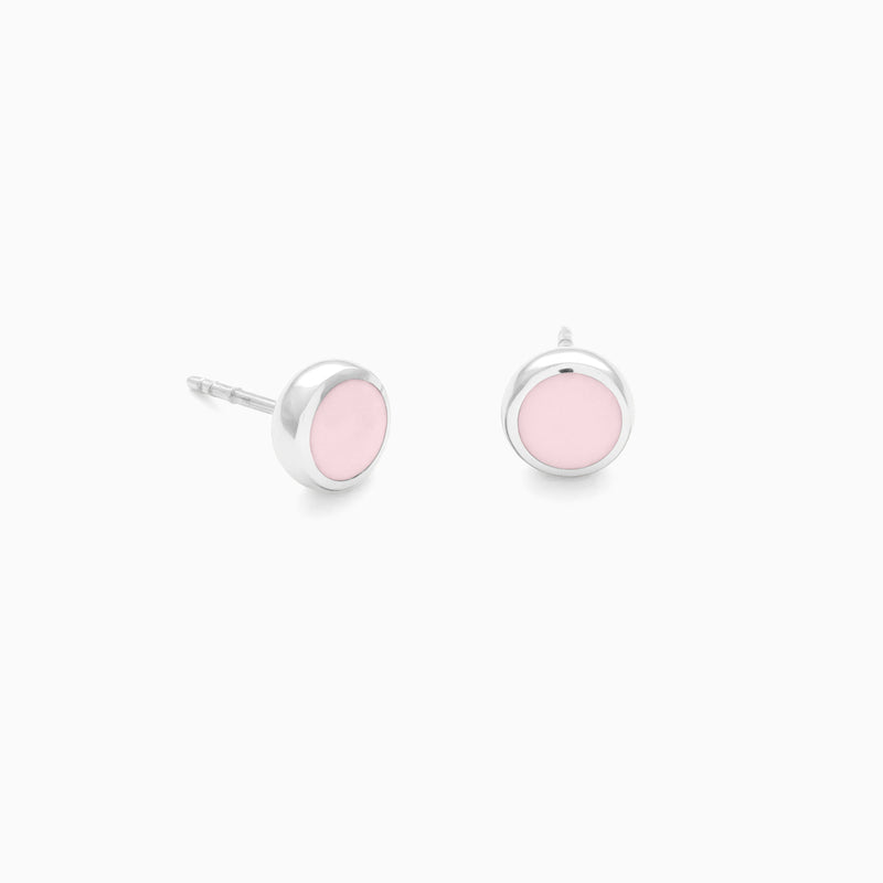 Halo Studs in Sterling Silver and Powder Pink by Naomi Murrell
