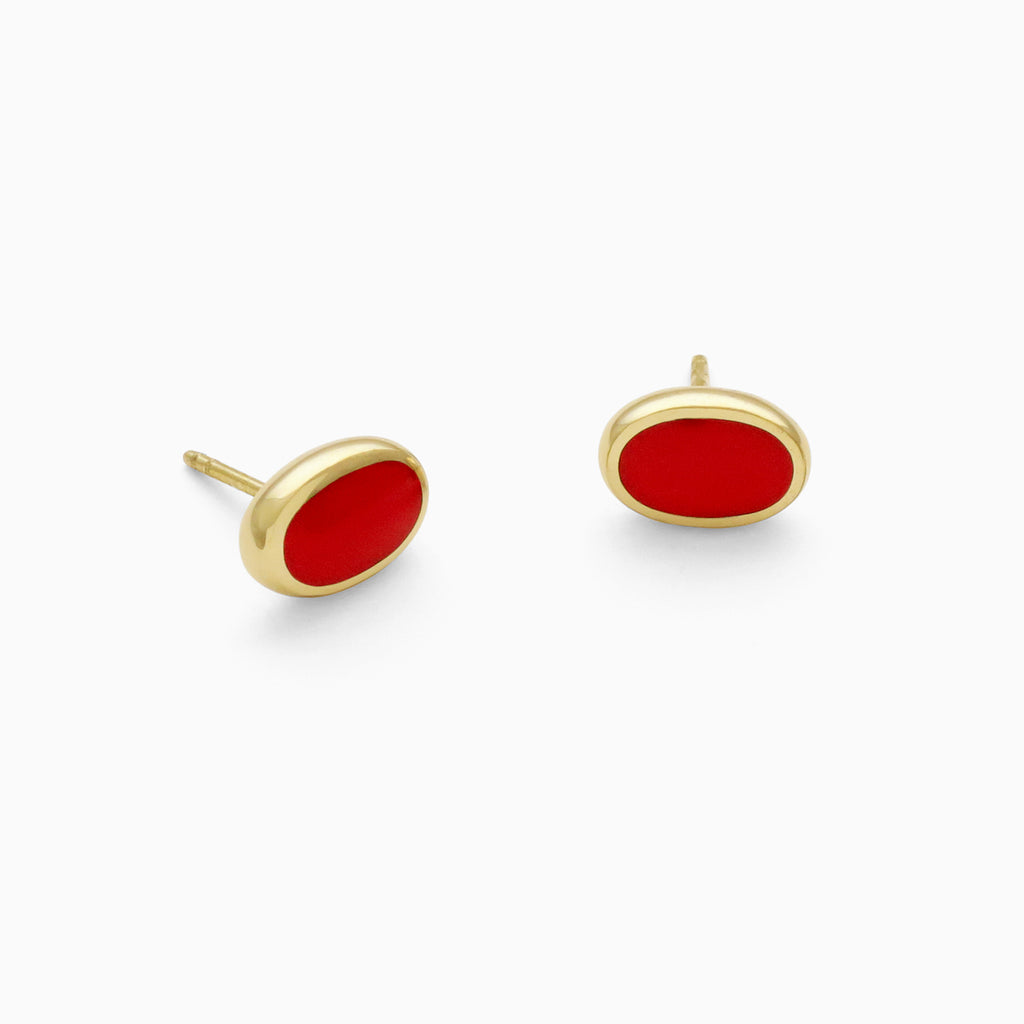 Oval Studs in Golden Brass and Cherry by Naomi Murrell
