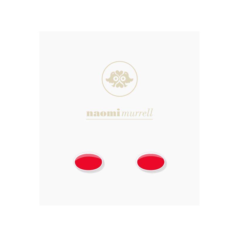 Oval Studs in Sterling Silver and Cherry by Naomi Murrell
