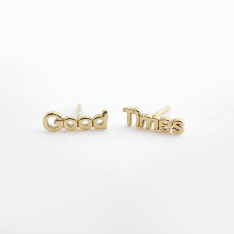 Good Times Studs Golden Brass by Naomi Murrell