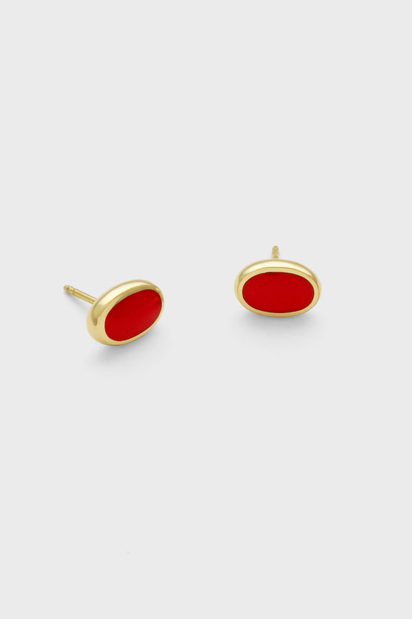 Oval Studs, Cherry Red, Golden Brass
