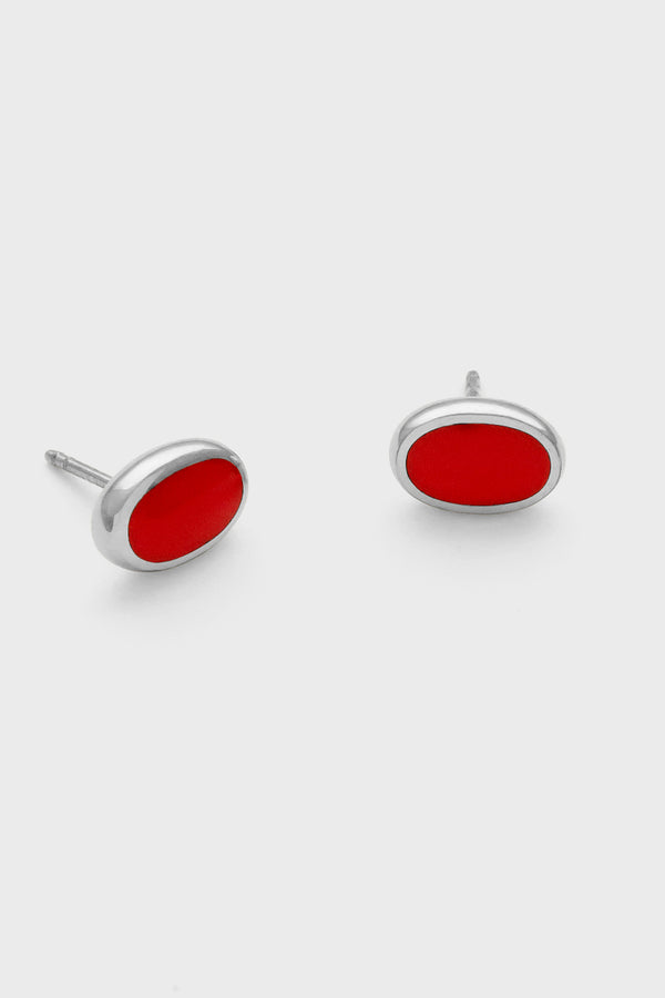 Oval Studs, Cherry Red, Sterling Silver