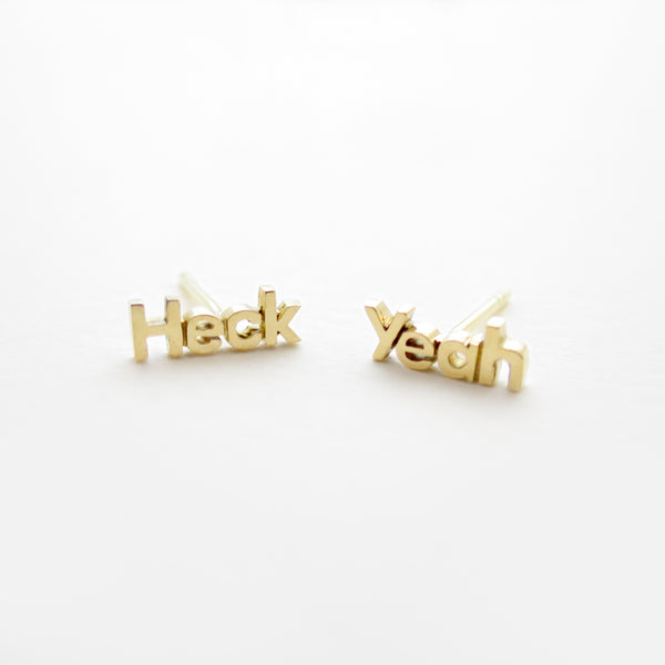 Heck Yeah Studs in Golden Brass by Naomi Murrell