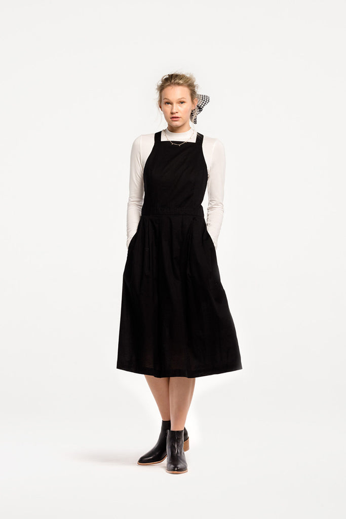 Alfresco Dress in Black Cotton Voile, Worn Layered by Naomi Murrell