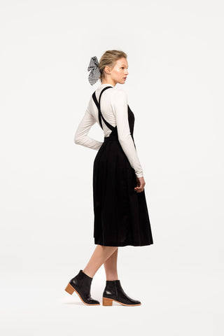Alfresco Dress in Black Cotton Voile, Worn Layered, Back Detail 2 by Naomi Murrell