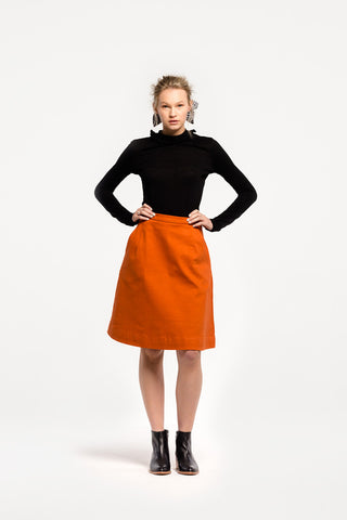 Granita Skirt in Persimmon Cotton Twill by Naomi Murrell