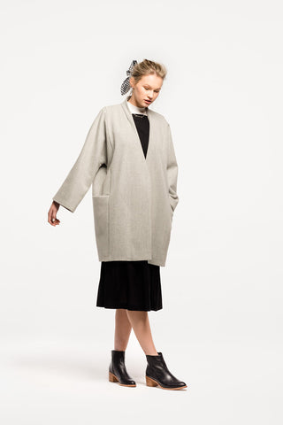 Lake Como Coat in Grey Wool Cashmere by Naomi Murrell