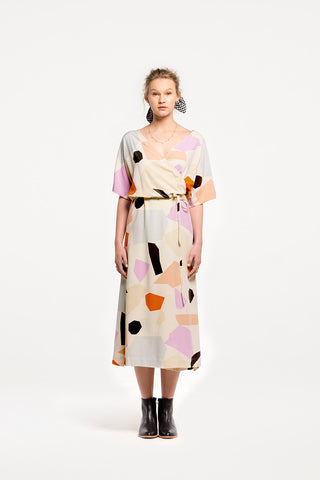 Negroni Wrap Dress in Terrazzo Print by Naomi Murrell