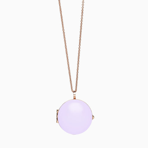Locket, Lavender, Rose Gold Plate