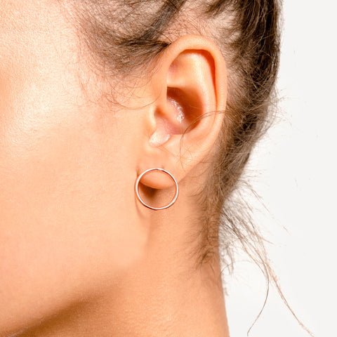 Loop Studs in Rose Gold Plate by Naomi Murrell, Worn, Close Up