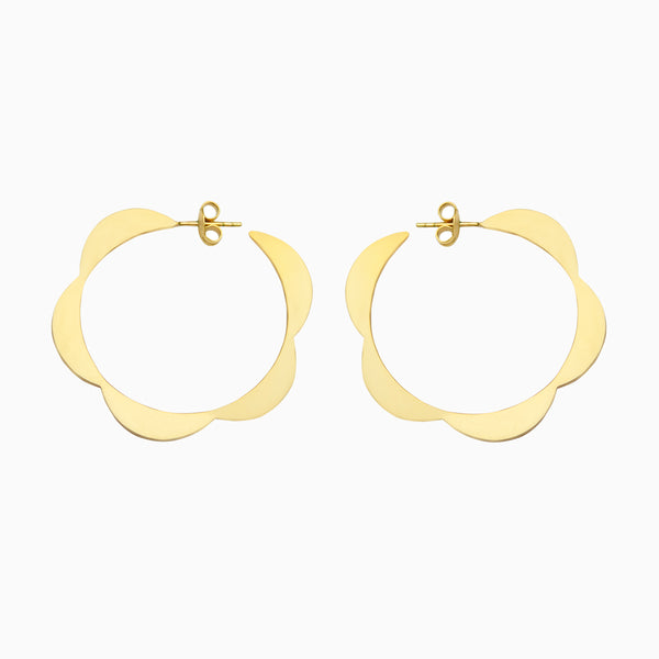 moonbeam hoops back detail in solid golden brass, by Naomi Murrell