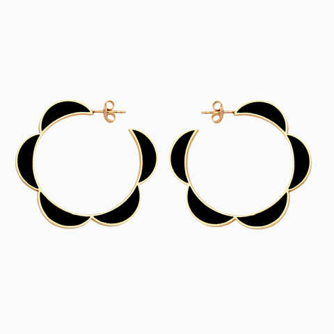 moonbeam hoops in piano black and golden brass, front detail, by Naomi Murrell