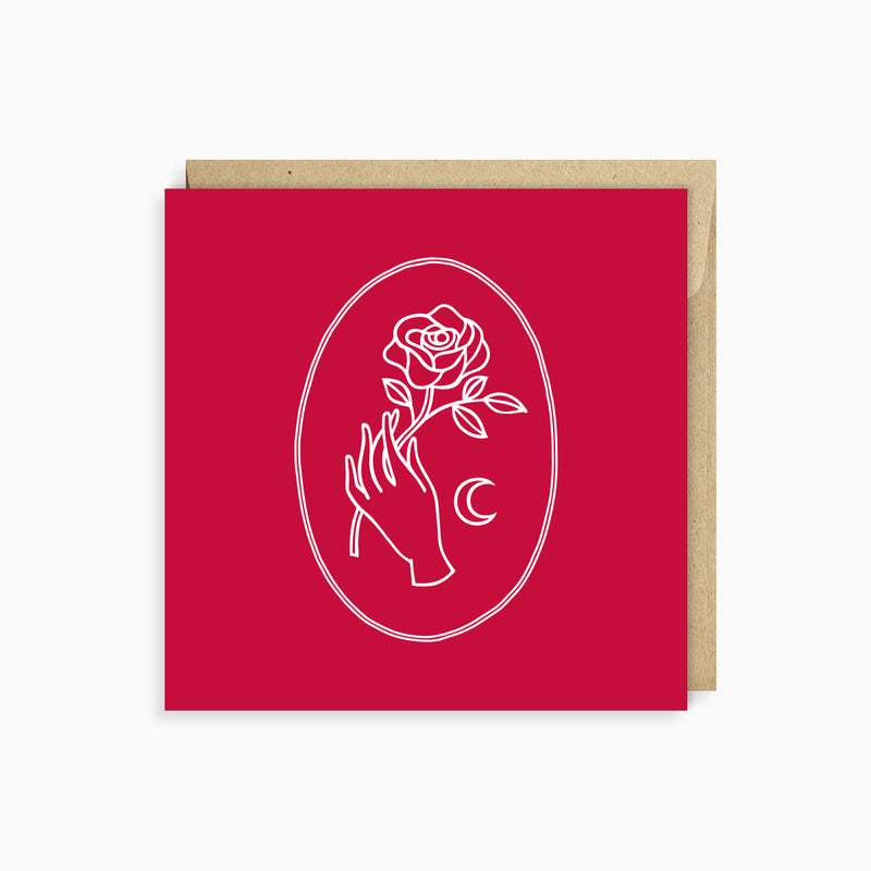 New Romantic Greeting Card by Naomi Murrell, in cherry red