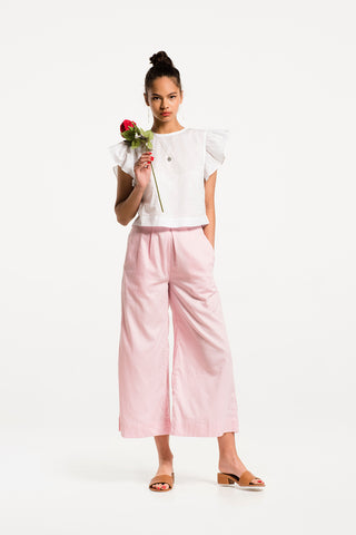 Cherry Cola Culottes in Rose Pink Cotton, Hero 1 by Naomi Murrell