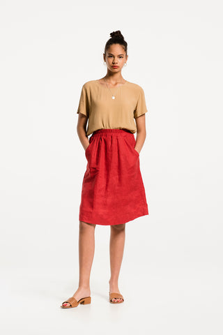 Crazy On You Skirt in Cherry Red Linen, Hero 1 by Naomi Murrell