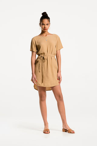 Low Key Dress in Clay Viscose, Hero 1 by Naomi Murrell