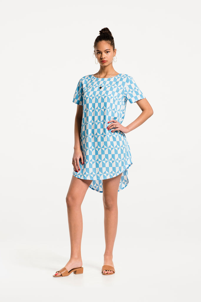 Low Key Dress in Paradiso Print Rayon, Hero 1 by Naomi Murrell