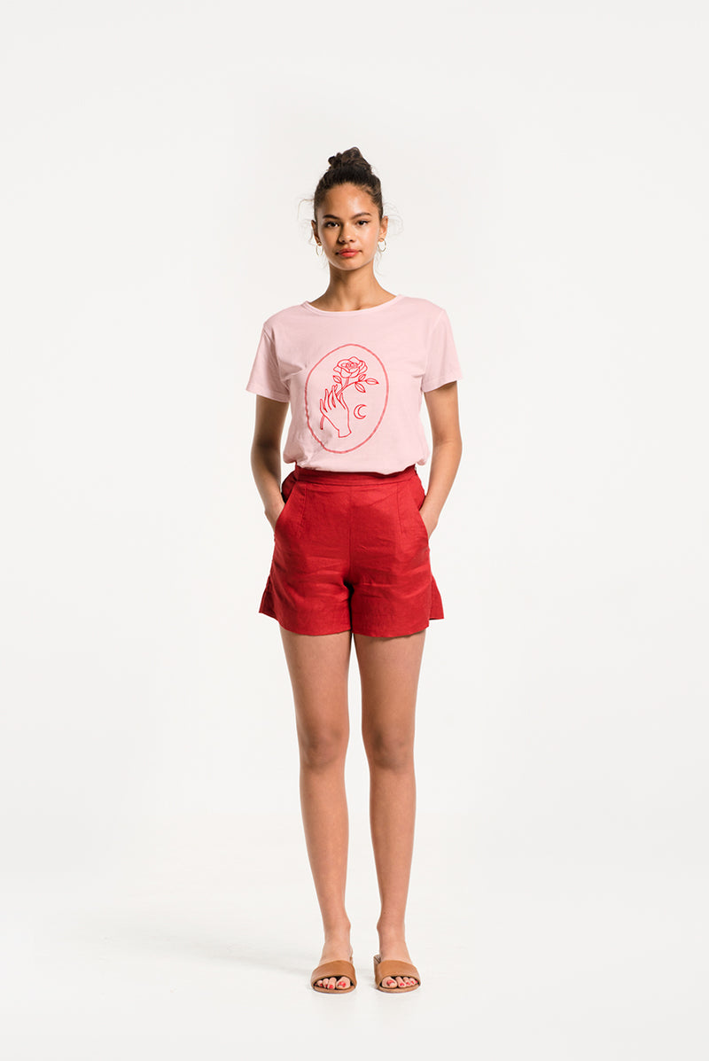 New Romantic Tee, Rose Pink with Cherry Red Print