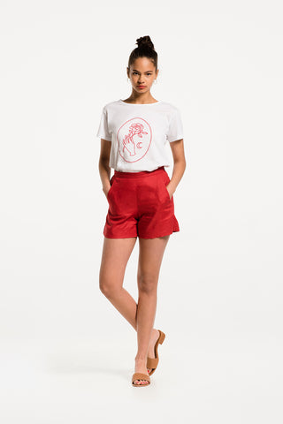 New Romantic Tee in White Cotton with Cherry Red Print, Hero 1 by Naomi Murrell