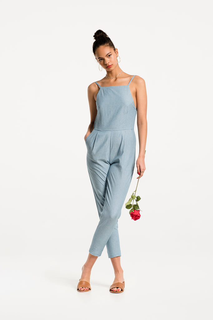 424251f76025 Playa Jumpsuit in Light Blue Chambray Cotton