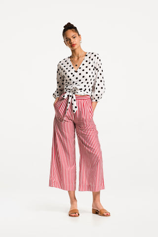 Sofia Wrap Top in Ipanema Polka Dot Cotton Voile, Hero 1 by Naomi Murrell