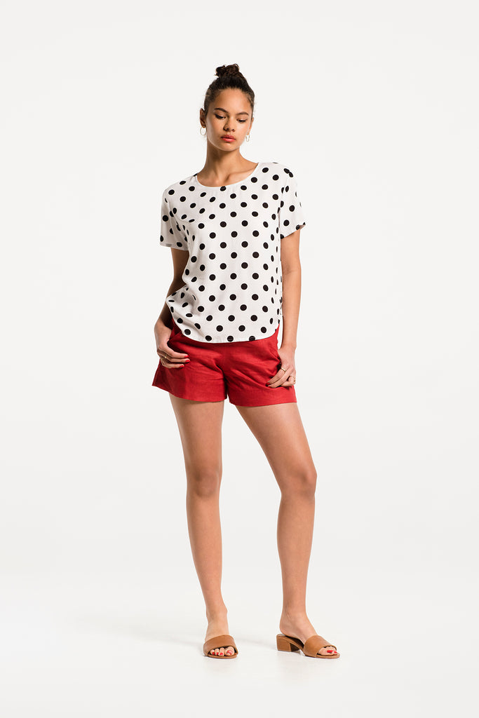 Take It Easy Tee in Ipanema Polka Dot Rayon, Hero 1 by Naomi Murrell
