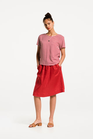 Take It Easy Tee in Sailboat Stripe Rayon, Hero 1 by Naomi Murrell