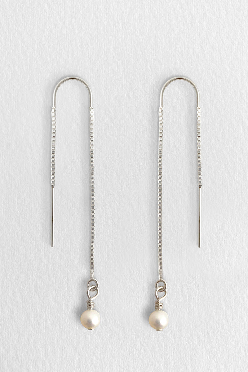 Perla Thread Earrings, Silver