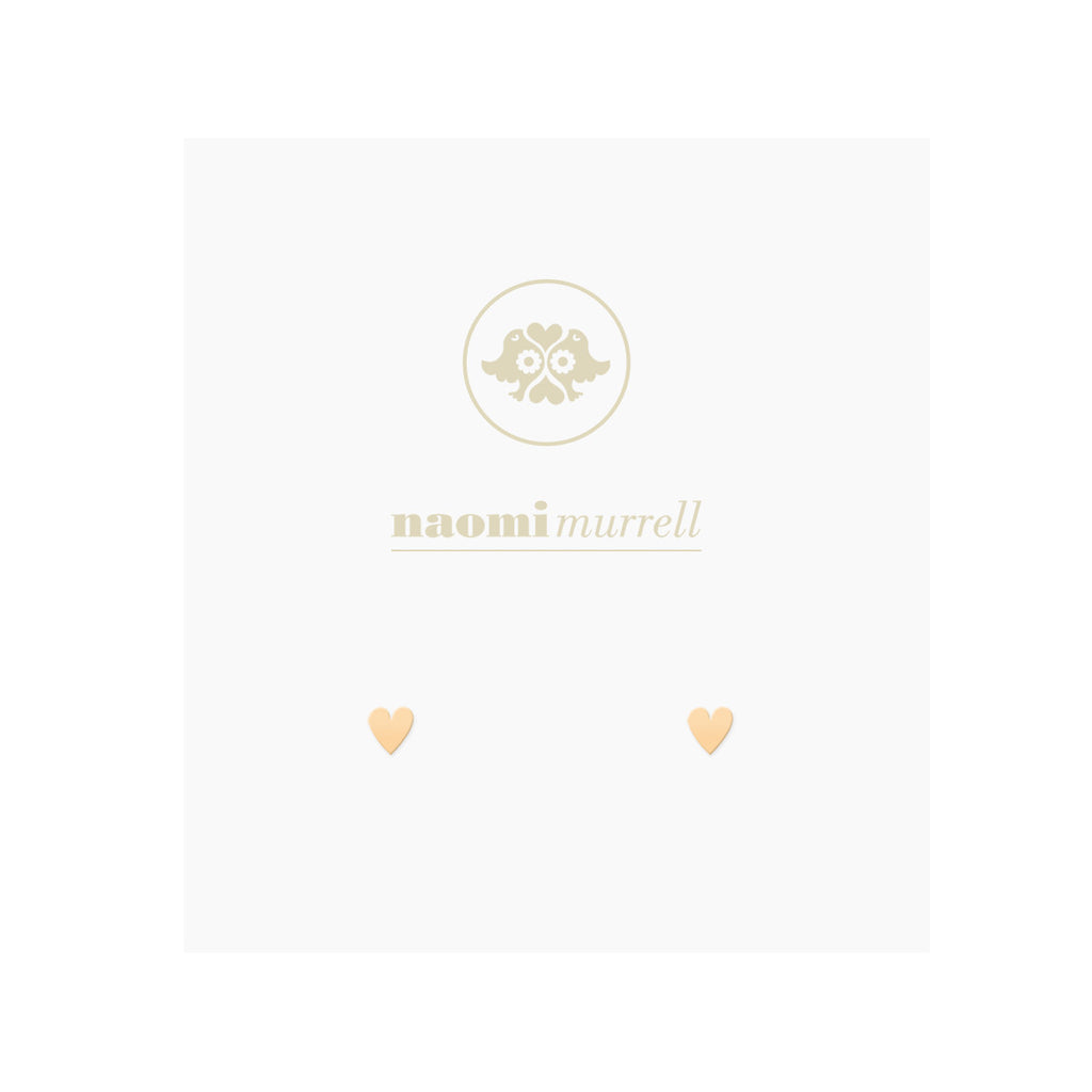 Petite Sweetheart Studs in Golden Brass by Naomi Murrell