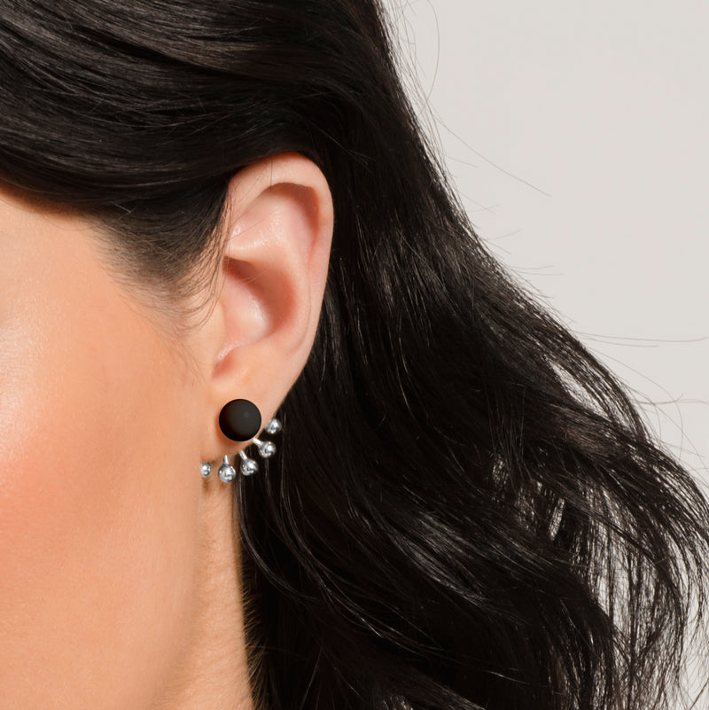 Pinball Ear Jackets in Sterling Silver and Peppercorn Black by Naomi Murrell, Close Up