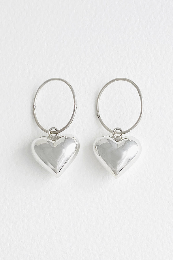 Puffy Heart Hoops, Silver