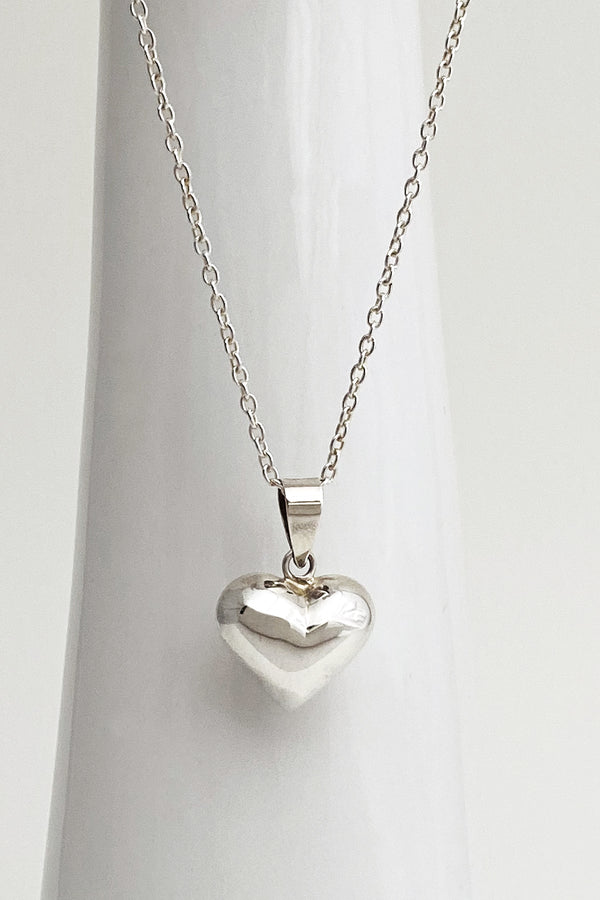 Puffy Heart Necklace Silver