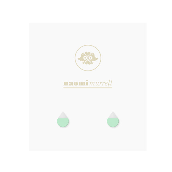Droplet Studs in Silver and Pistachio Green by Naomi Murrell